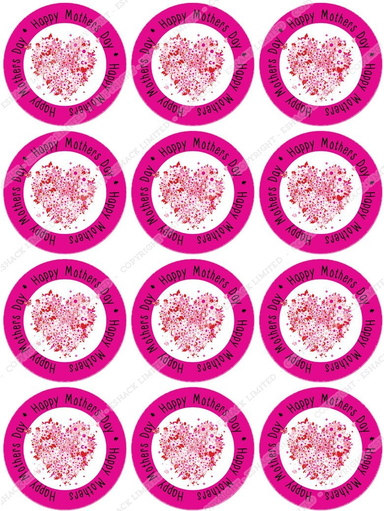 Cakeshop 12 x PRE-CUT Happy Mothers Day Pink Heart Edible Cake Toppers