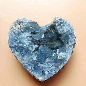 natural Blue Celestite heart shaped stone quartz crystal heart for sale