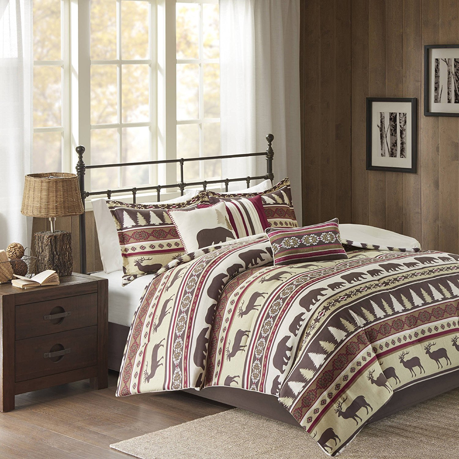 7 Piece Red Tan Brown Southwest Nature Comforter Cal King Set, Horizontal Stripe Hunting Deer Bear Motif Bedding, Lodge Cabin South West Western Outdoors Native American Themed Pattern, Polyester