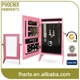 Pink Mini table top storage jewelry cabinet with mirror