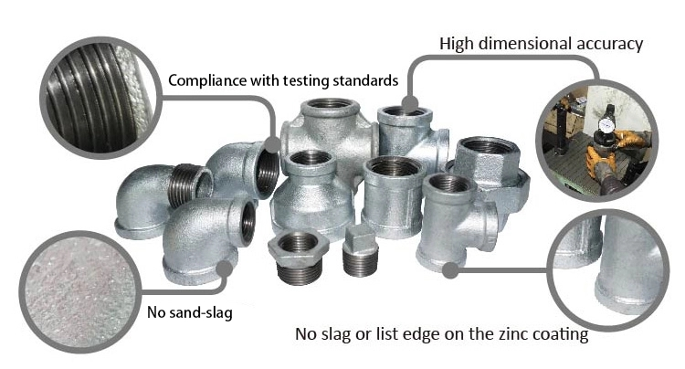 "galvanised fittings asme b16.3 130 tee 1/8"" male & female elbow ansi standard malleable iron nipple pipe fitting"