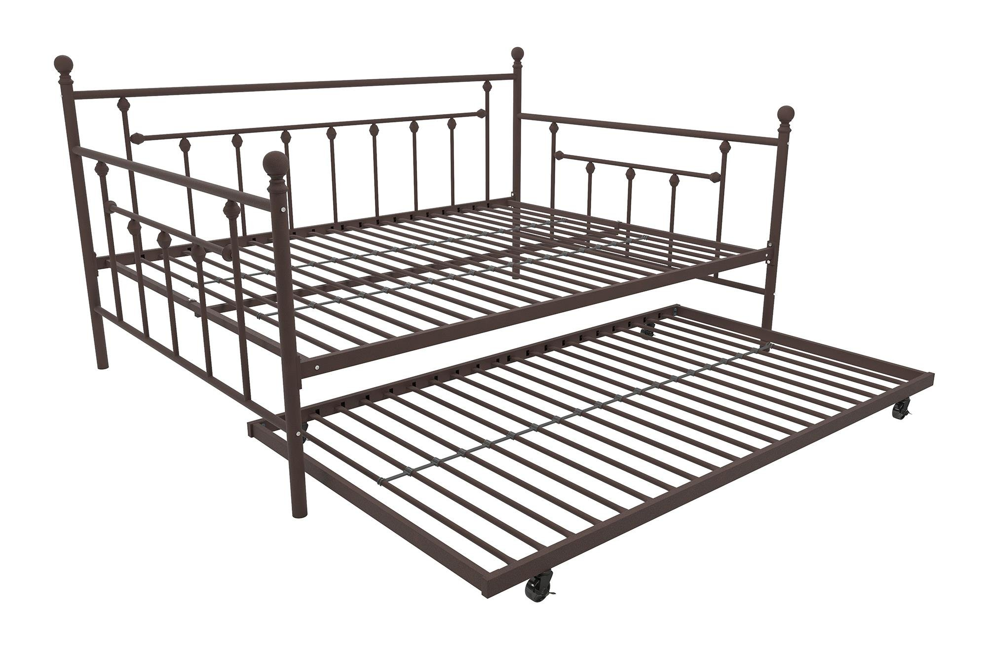 DHP Manila Metal Daybed and Trundle, Full Size Daybed and Twin Size Trundle, Multifunctional, Bronze