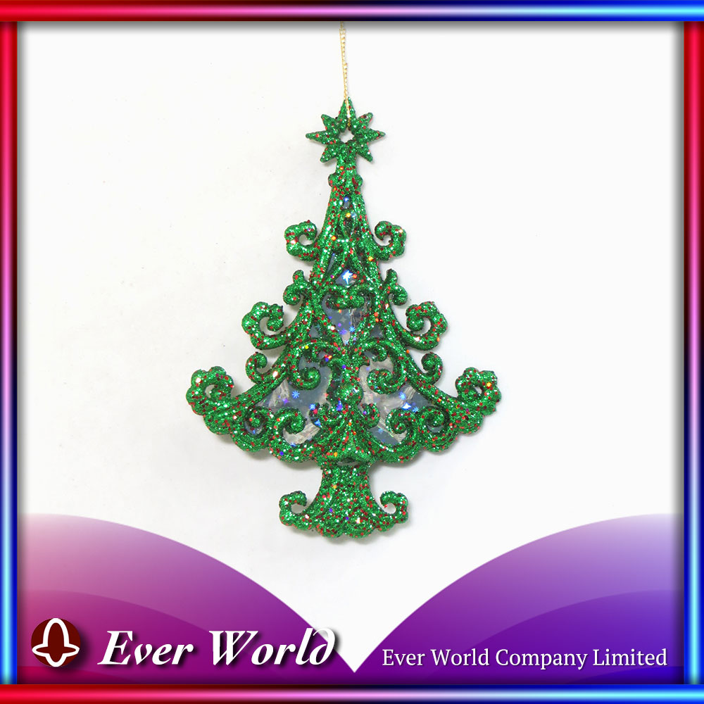 Christmas Plastic Green/Red Glitter Curled Tree Ornament for Christmas Tree/Christmas Decoration, Holiday Decoration Sets