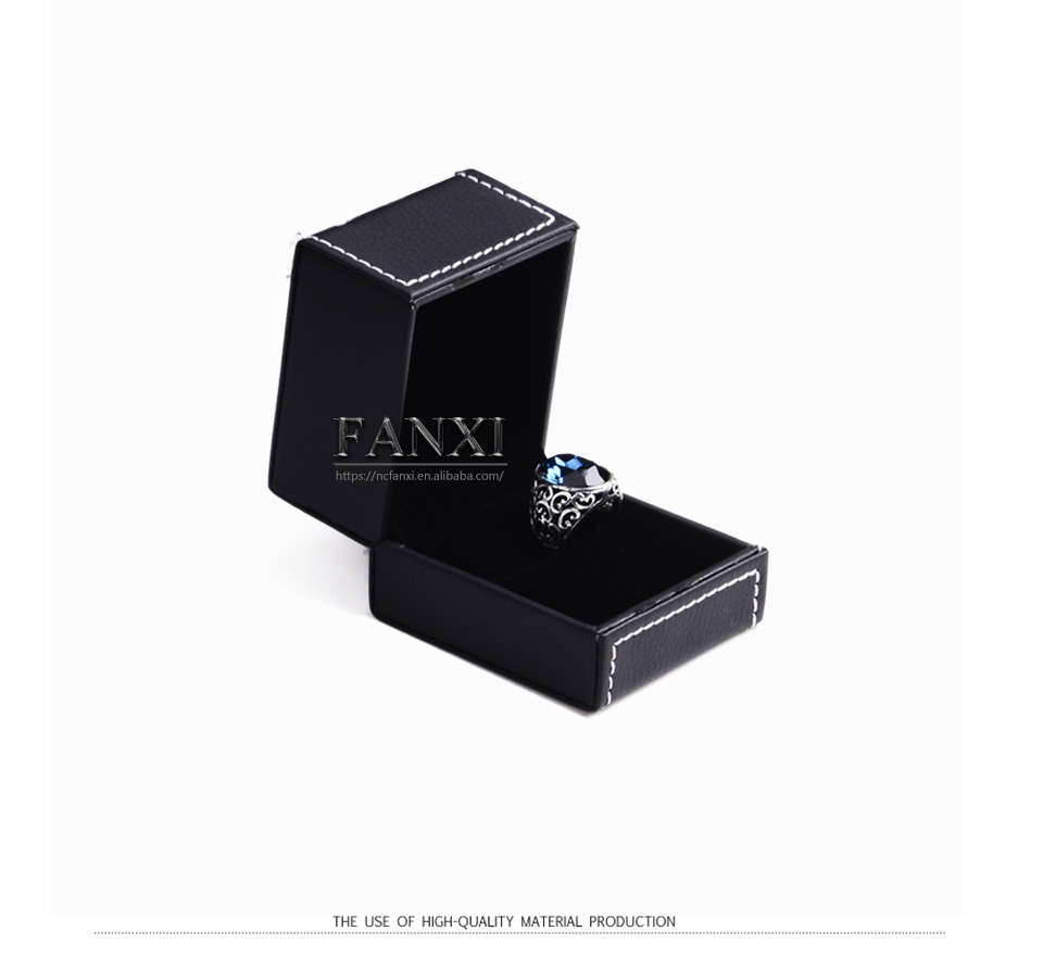 Wholesale custom logo PU jewellery gift boxes for ring necklace pendant bangle bracelet packing black Jewelry leather box