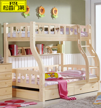 Princess Modern Unique Solid Wood Full Bunk Beds With Trundle
