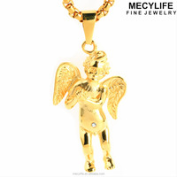 MECYLIFE 18K Gold Plated Stainless Steel Cupid Angel Charms Pendant