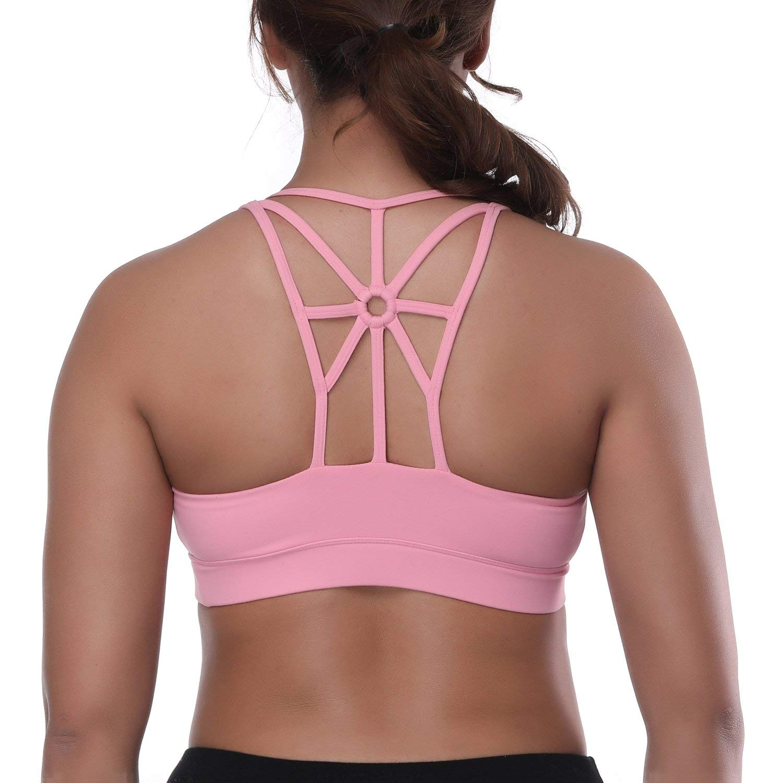 dad10da671 Get Quotations · YOKGO Women s Sports Bra Racerback Criss Cross Strap  Padded High Impact Yoga Running Bra