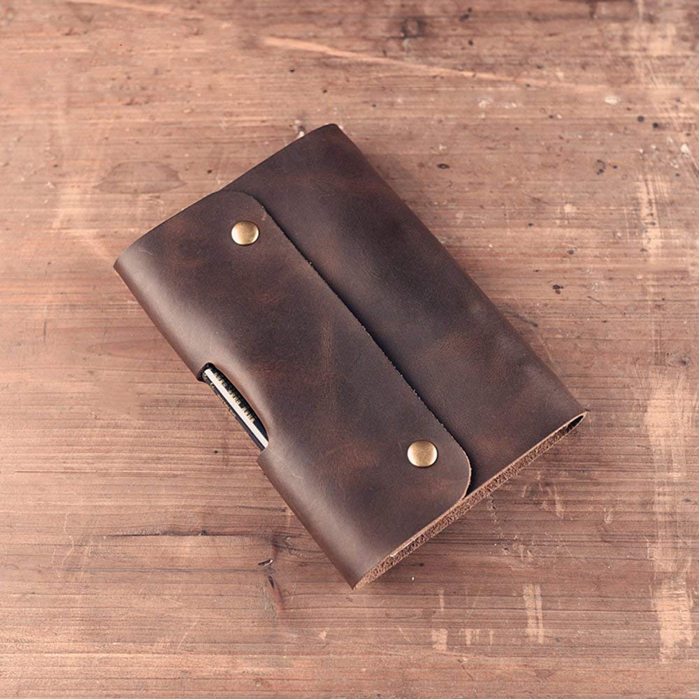 DEBON Genuine Leather Journal Writing Notebook Vintage Genuine Leather Travel Dairy Notepad with Pen Holder (Pen is Not Included) A6 Size Refillable Loose Leaf Journal Book- Brown