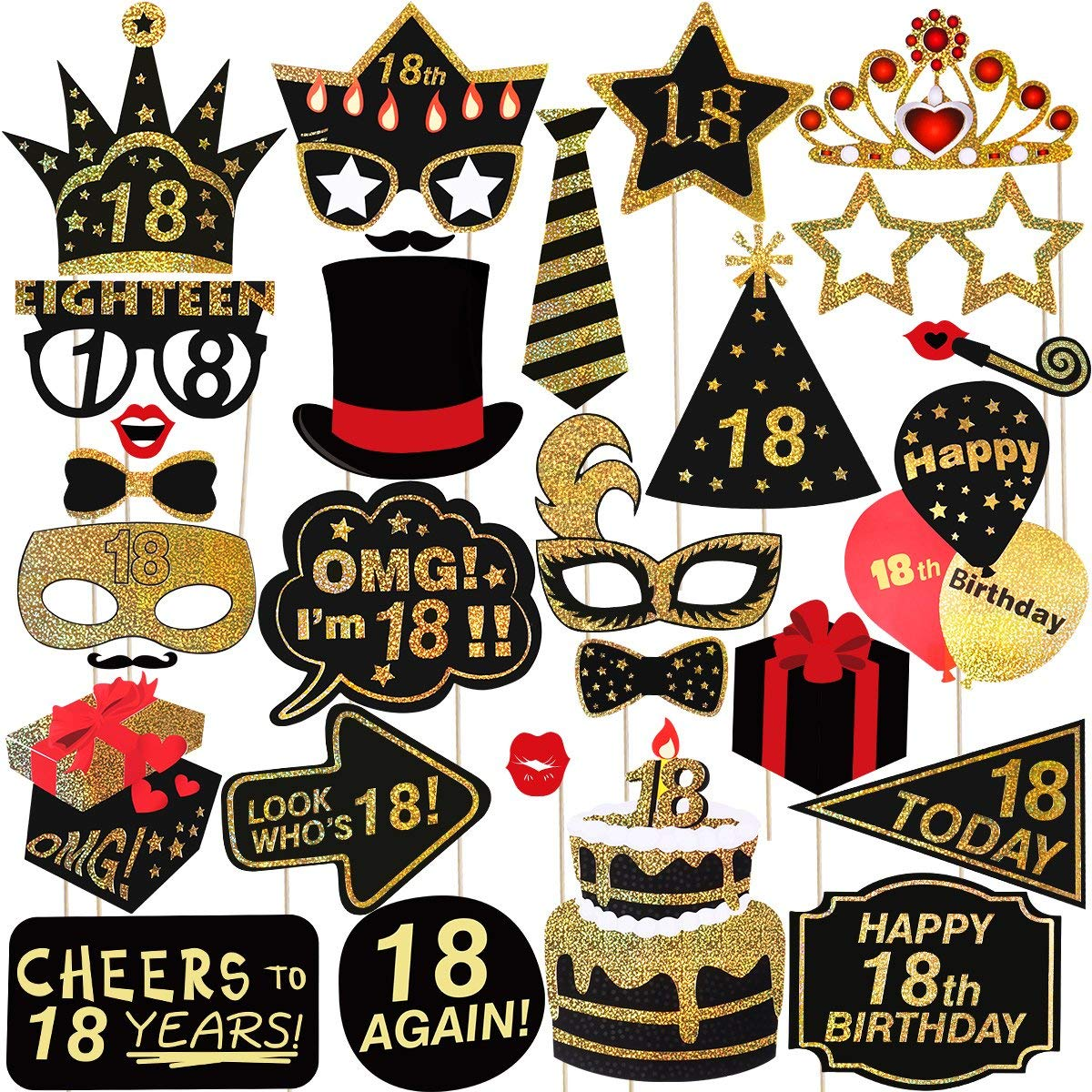 Pretyzoom 18th birthday photo booth props happy birthday party accessories supplies for photo booth parties glitter