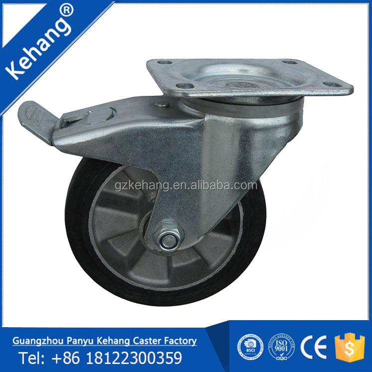 Hot sale! all size rubber with metal core locking caster wheels