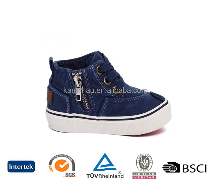 trade assurance waterproof jean color high top zipper big kid boys casual canvas sneakers shoes