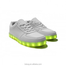 PU Material LED Shoes White, Factory Sale Shoes With Lights For Adult