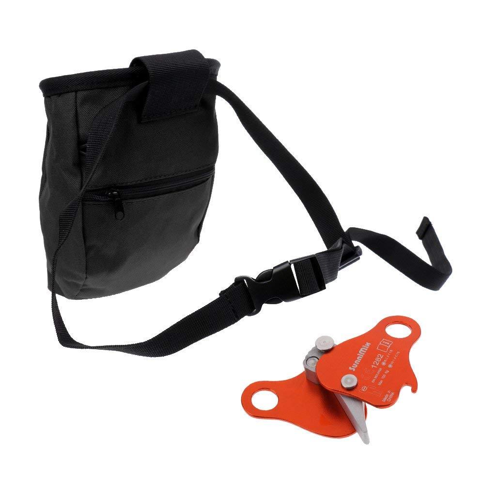 MonkeyJack Outdoor Climbing Caving Addict Chalk Bag w/ Aluminum Rope Grab Protecta Rock Climbing Arborist Gear