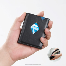 RFID Blocking Slim mini Genuine Leather Front Pocket Wallets for Men Money Clip Full Grain Leather