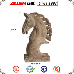 52 cm resin wood horse statue, horse head sculpture, horse head figurine for tabletop