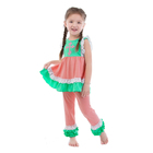 Smocked children clothing wholesale Easter girl ruffle outfit with belt