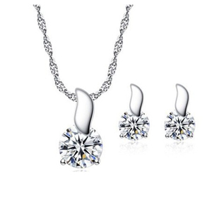Top Selling Summer Jewelry Sets Copper Women Pendant necklace and Earrings With Zircon