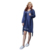 Women Navy Kimono Satin Nightgown Pajama Sets With Lace