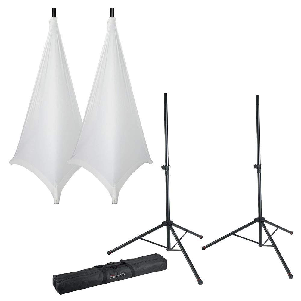 Gator Frameworks Speaker Stand Set with White Covers and Bag