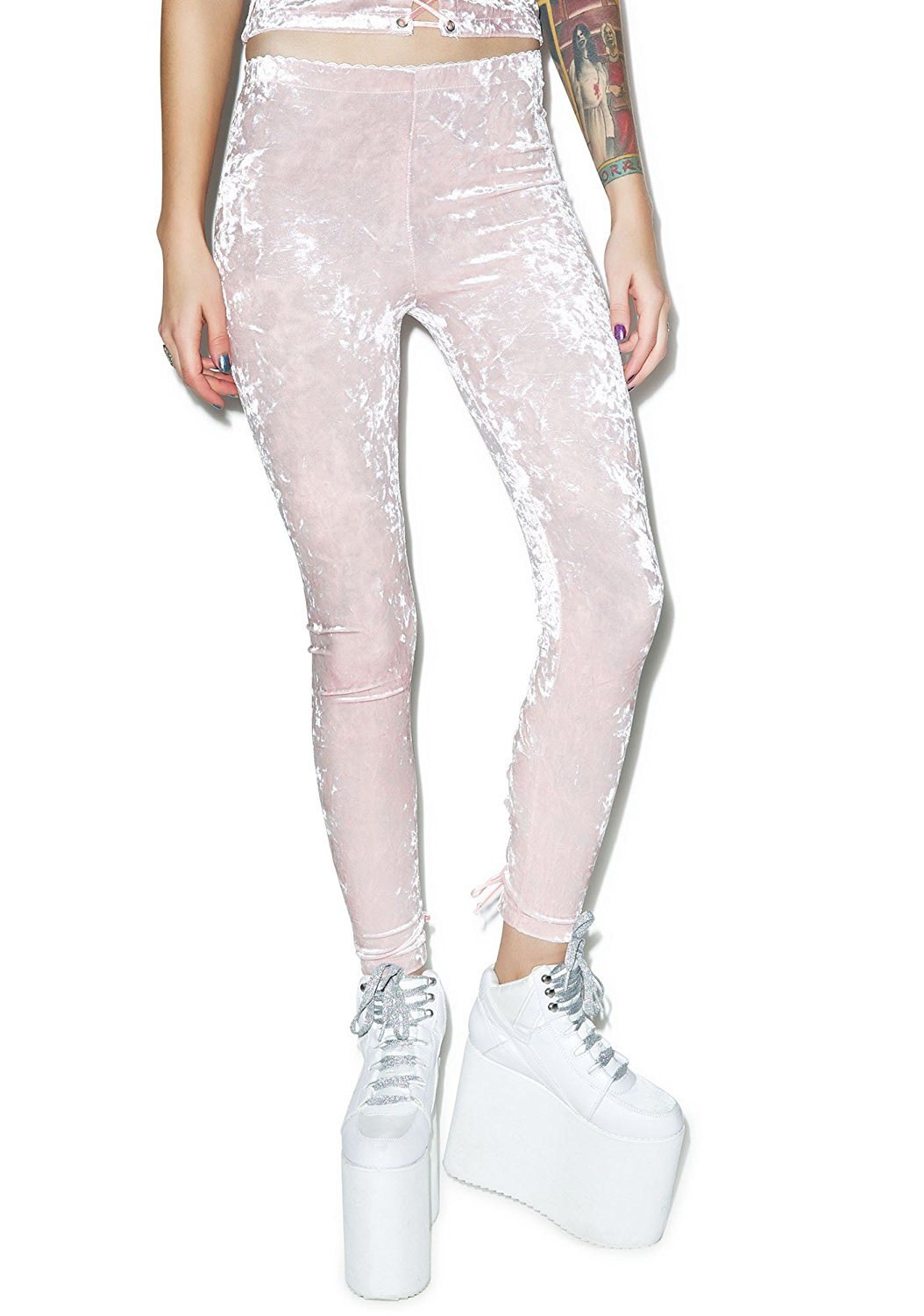 209008be4dc Get Quotations · Lip Service Gothic EMO Lace Up Crushed Velvet Pink Leggings