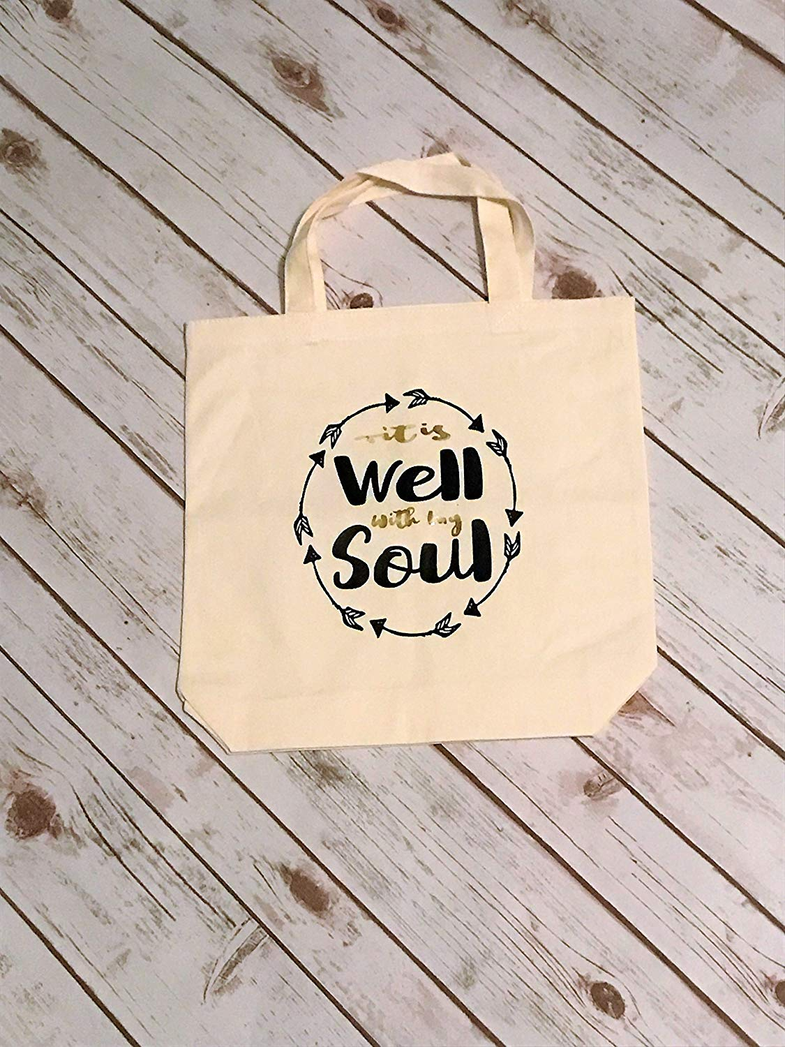 251653b6abe9 Get Quotations · Custom Tote Bag Scripture Tote Recycleable Tote Bible Verse  Canvas Tote It Is Well With My