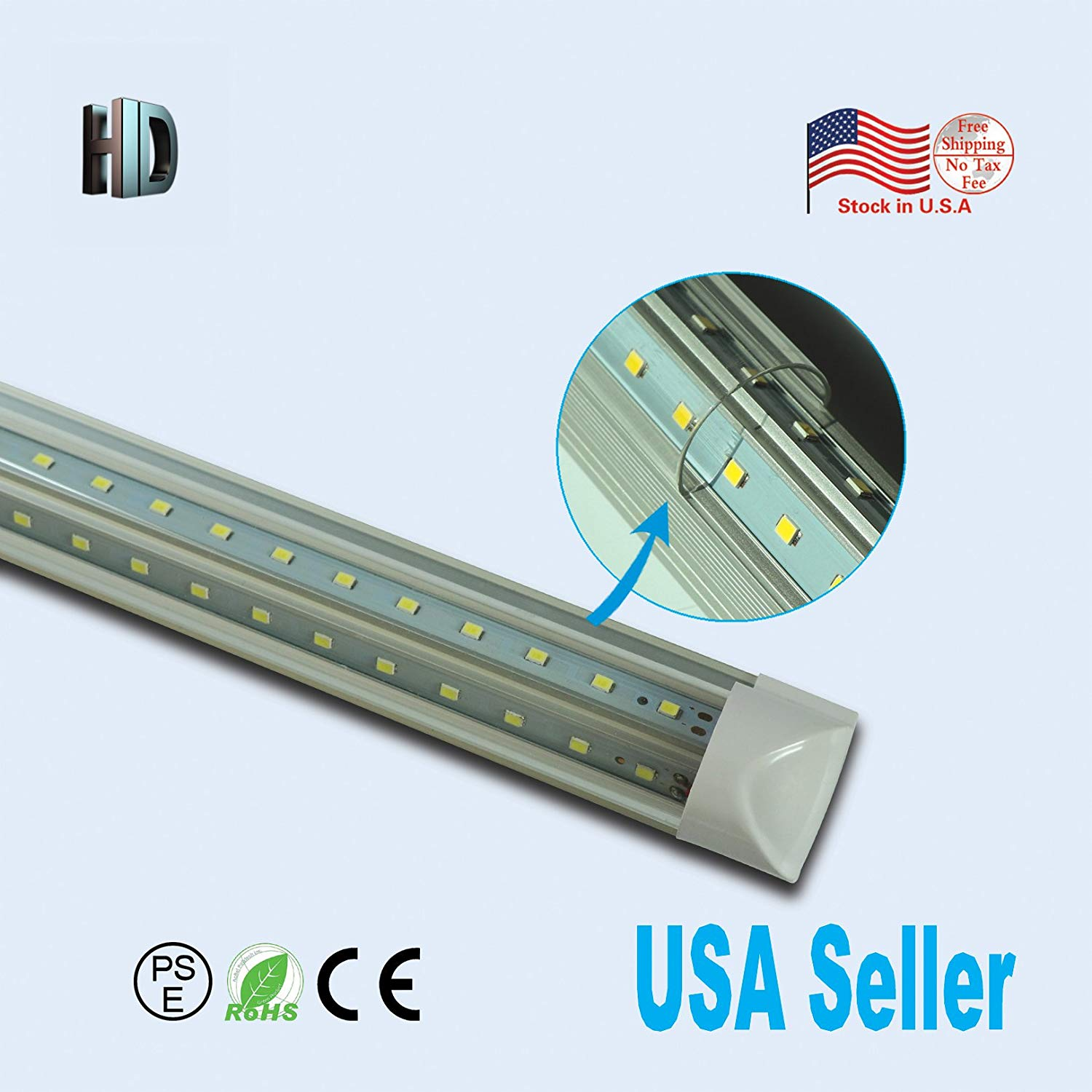 6 PACK LED T8 Integrated v shaped tube 5ft 30W AC110-277V LED Bulb tube Lamp clear cover with 5700K LED Light tube SMD2835 chip high brightness T8 integrated v shaped tube lamp