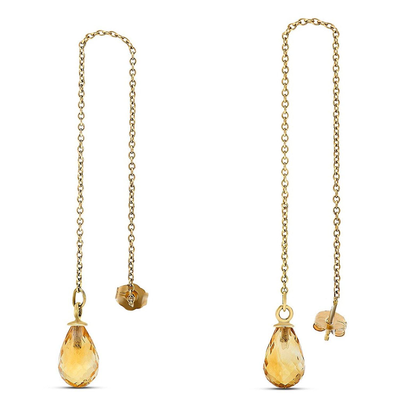 343af47d5 Get Quotations · 10k Yellow Gold Citrine Briolette Gemstone Threader  Earrings, Birthstone of November