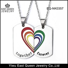 Stainless steel Rainbow Heart Together Forever Couple Pendant Necklace