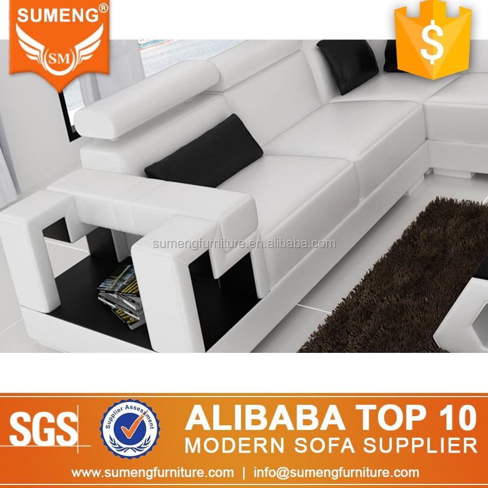 Sumeng modern cheap beautiful home furniture big white leather corner sectional sofa