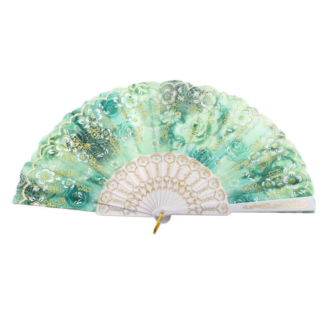 uxcell Glittery Powder Decor Flower Printed Folded Hand Fan Green