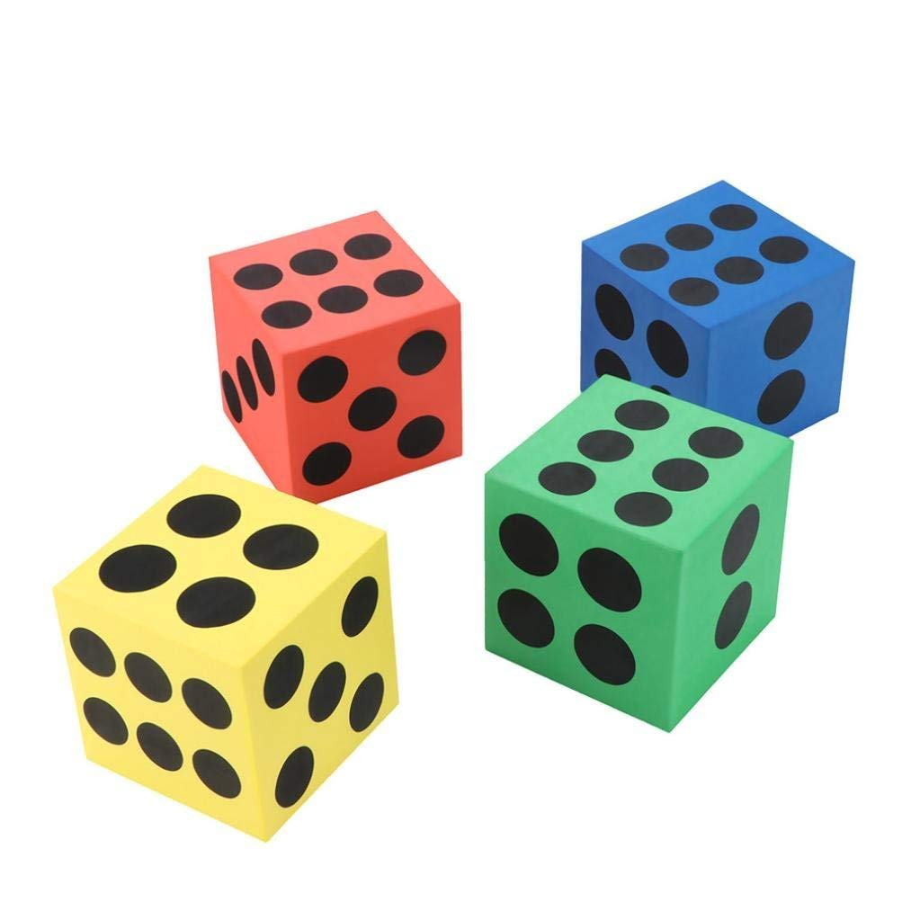 Gbell Specialty Large Eva Foam Dice,Six Sided Spot Dice- Kids Game Soft Learn Math Play Blocks,Developmental Education Game Toy,6.3CM/3.7CM,Random Color