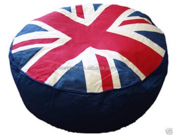 Heißer Verkauf Uk Flag Design Runde Puff Sitzsack Hocker Nw1312