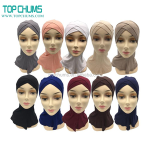 Cheap Wholesale small moq plain bonnet underscarf muslim sports hijab