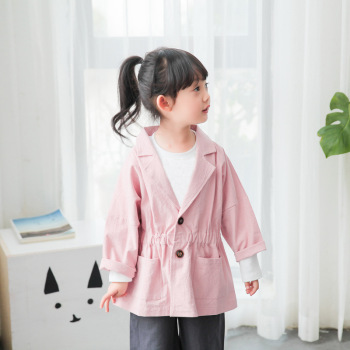 MS75110B Girls solid color spring slim fit coats