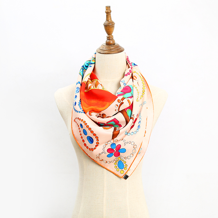 Latest design digital printed polyester square scarf 100*100 for lady