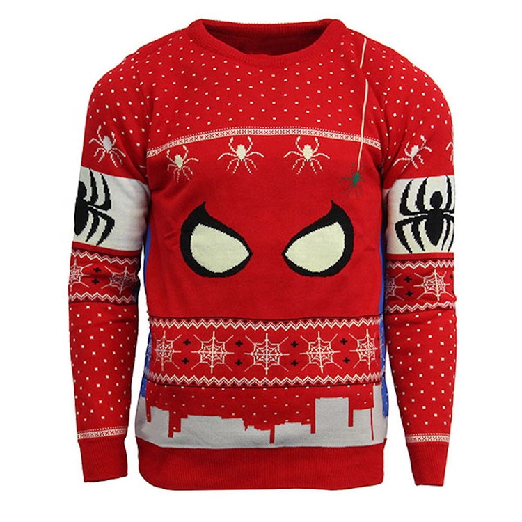 Low Moq Custom Men Ugly Christmas sweater Ugly Red Spider Pullover Christmas Jumpers