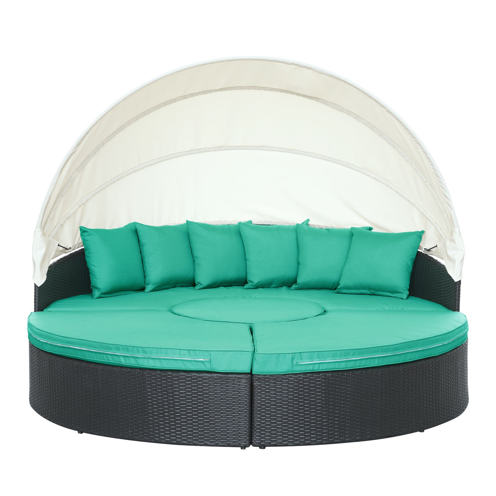 Modway Quest Circular Outdoor Wicker Rattan Patio Daybed with Canopy in Espresso Turquoise