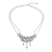 xl00641a Wedding Wear Diamond Pearl Necklace Layered Silver Ladies Accessories