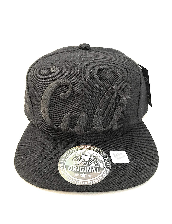 Original Cali Black On Black Flat Bill Snapback Hat 81a8899b276b