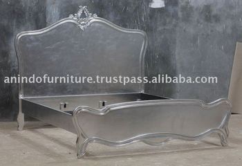 Beautiful Silver Leaf Furniture   Indonesian French Bed