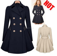 Hot jackets women 2016 winter womens clothes trench coat jacket double button xxl size