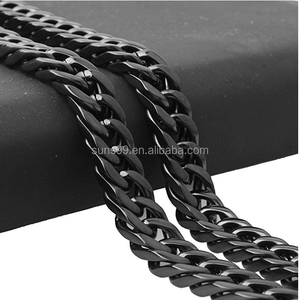 Black PVD Stainless Steel Necklace Men Jewelry 8MM Wide 22-40 inches Cuban Curb Link Chain Necklace