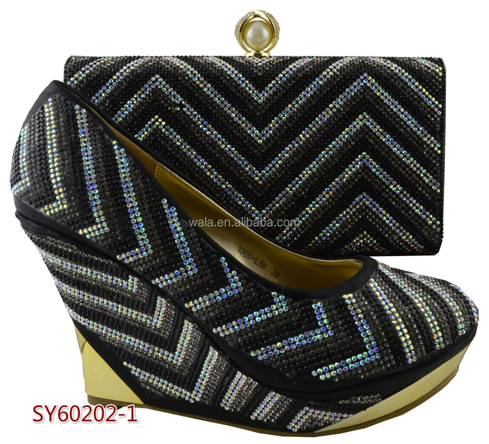 wedding for black gold with clutch white bag shoes wedge Nigeria set and heel SY60202 rhinestone 2 nw7WRnSqO