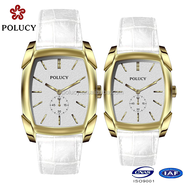 China supplier oem square gold plated couple watch with waterproof 50m