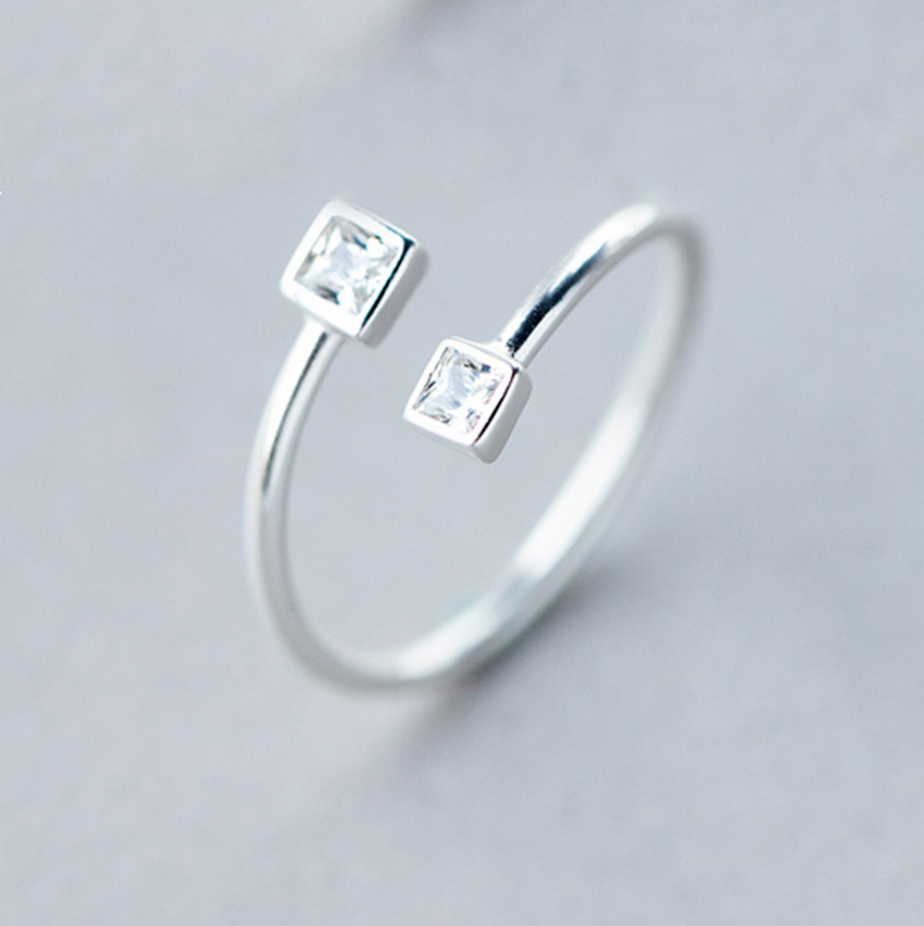 New Hot 925 Sterling Silver Double Cube Box Ring For Women Wedding Rings Fashion Sterling-Silver-Jewelry Anel Anillos