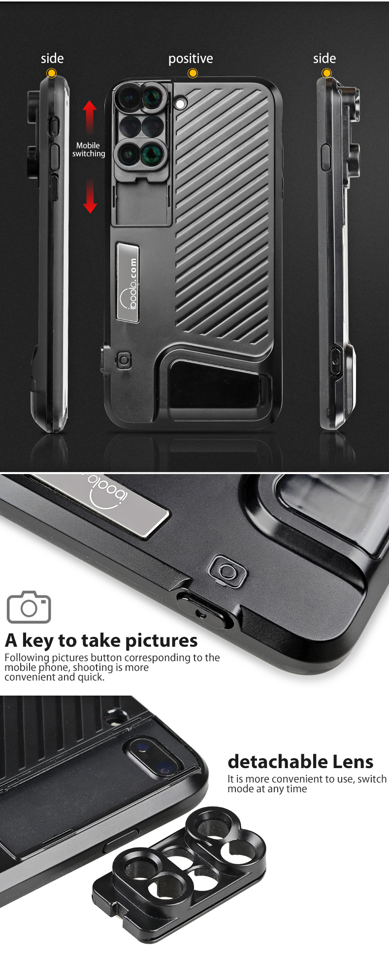 High quality super wdie angle lens macro telephoto fisheye 6 in 1cell phone camera lens kit for iphone 7plus with phone case