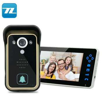 "TL Security Video Door Intercom Entry System 2.4G 7"" TFT Wireless Video Door Phone Doorbell Home Security 1 Camera 1 Monitor"