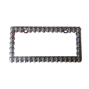 Custom Heavy Metal Chrome 3D Skull Car license Plate Frame
