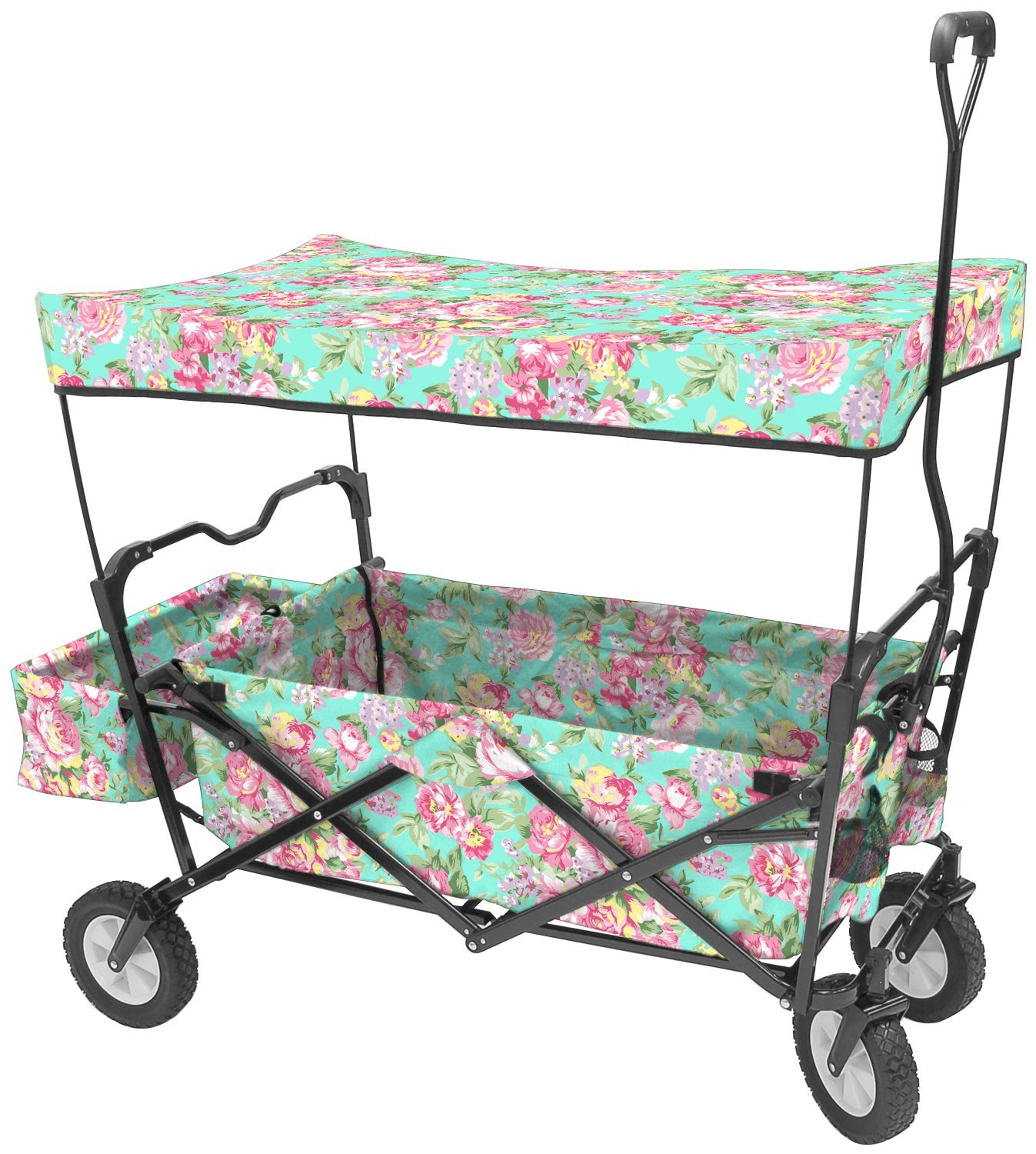 Creative Outdoor Distributors Folding Beach Wagon Floral Chair, Floral Pattern