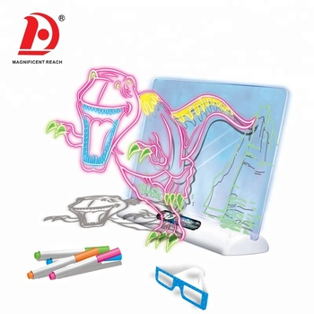 HUADA 2020 High Quality Dinosaur Series 3D Magic LED Light Kids Drawing Board with Color Pen